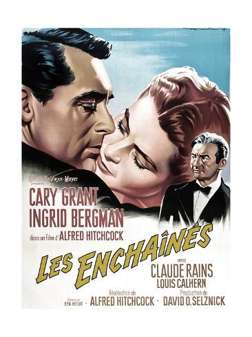 Notorious, French 1963 Re-Release Poster Art, Cary Grant, Ingrid Bergman, Claude Rains, 1946 Lámina giclée
