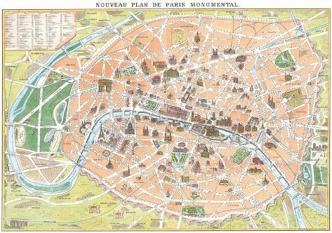 nouveau plan de paris monumental antique map of paris