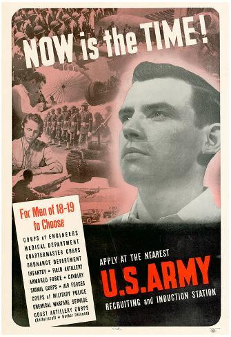 Now Is The Time to Choose U.S. Army WWII War Propaganda Art Print Poster Poster