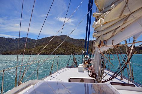 Sailing on the Marlborough Sounds, New Zealand Photographic Print