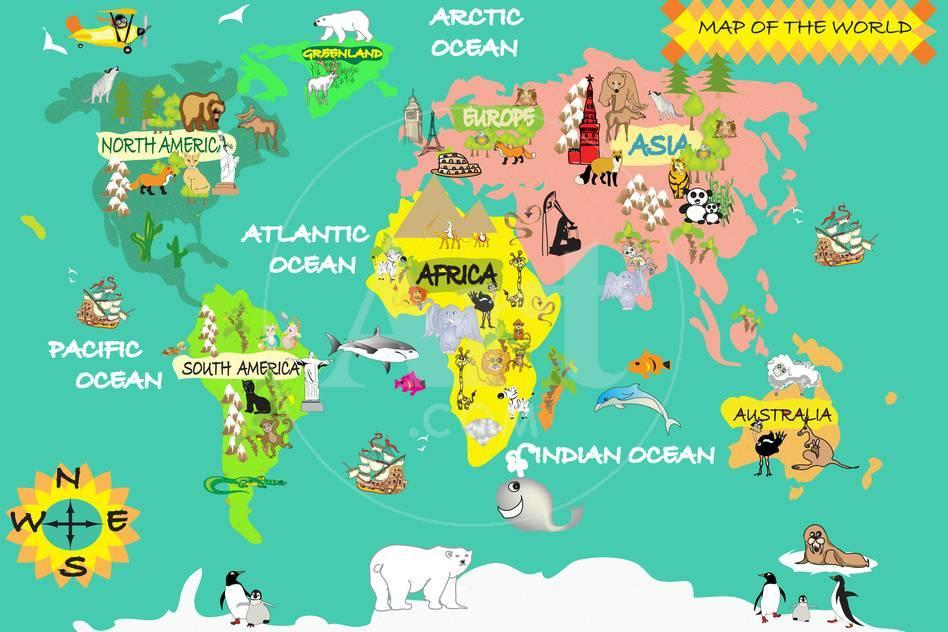 Kids World Map Art by Nuarevik at AllPosters.com