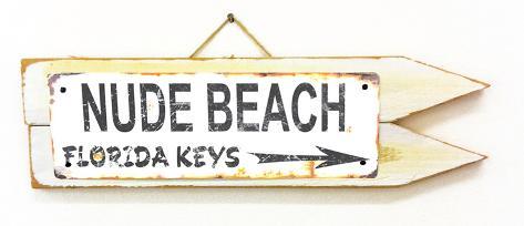 Nude Beach Florida Keys Rusted Wood Sign