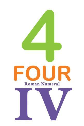 Number 4 with Roman Numeral Banner Taidevedos