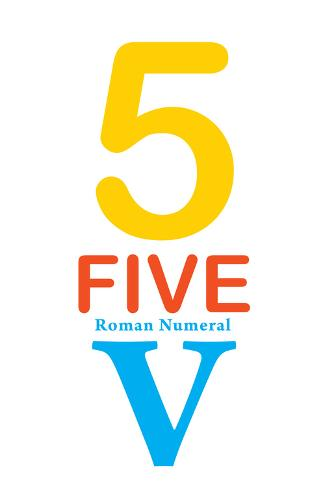 Number 5 with Roman Numeral Banner Taidevedos