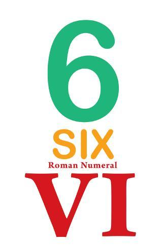Number 6 with Roman Numeral Banner Taidevedos