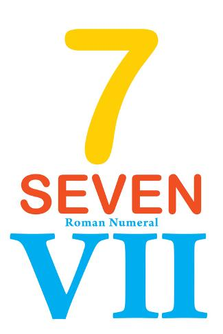 Number 7 with Roman Numeral Banner Taidevedos