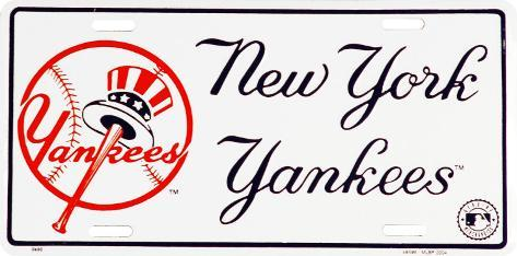 NY Yankees License Plate Tin Sign