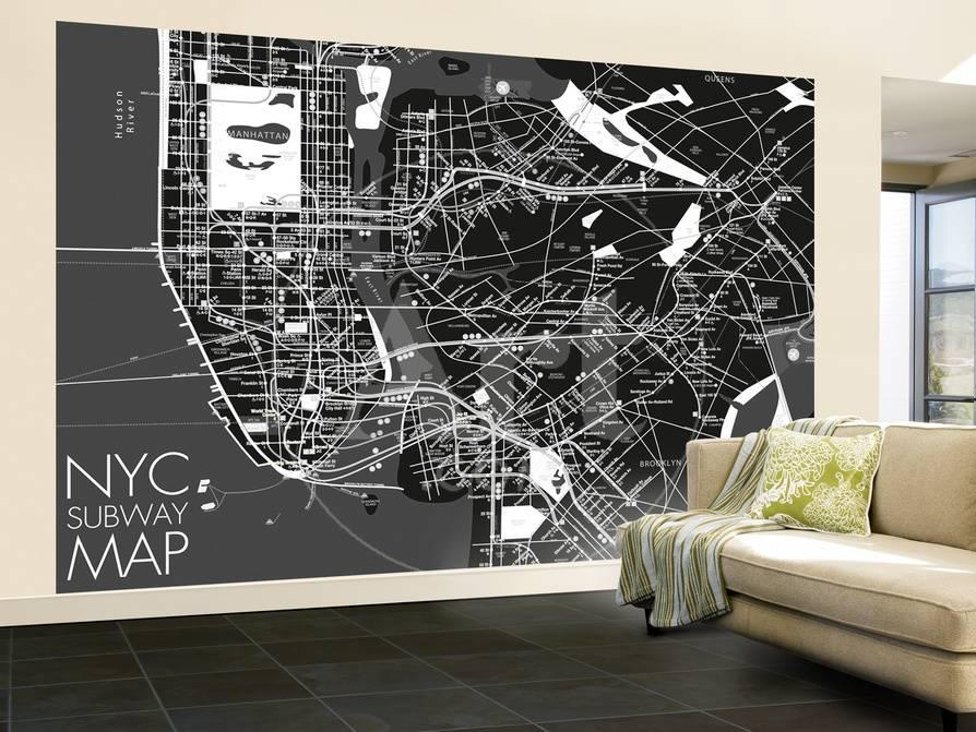 Nyc Subway Map Wallpaper Mural Wallpaper Mural At Allposters