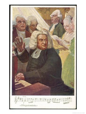 Johann Sebastian Bach German Organist and Composer Conducts the Whitsunday Cantata Giclee Print