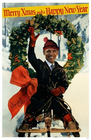 Obama Merry Xmas and a Happy New Year Masterprint