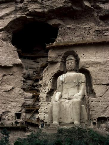 Great Buddha at Bingling Temple, Yellow River, Near Lanzhou, China Photographic Print
