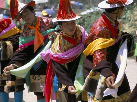Tibetans Dressed for Religious Shaman's Ceremony, Tongren, Qinghai Province, China Photographic Print