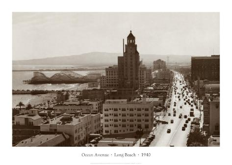 Ocean Avenue, Long Beach, 1940 Art Print