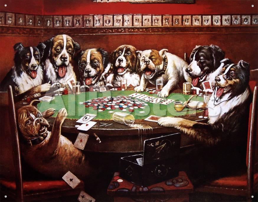 Ocho perros jugando a las cartas Carteles metálicos en AllPosters.es