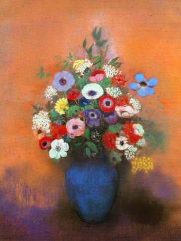 Anemones and Lilacs in a Blue Vase, after 1912 Giclee Print