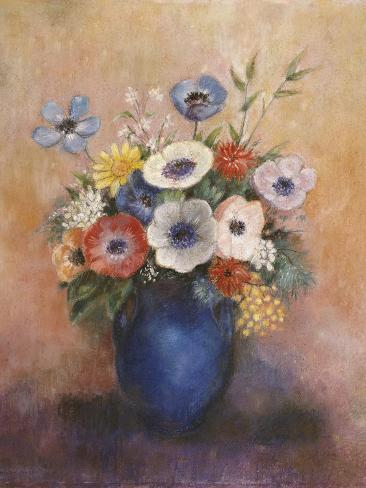 Bouquet of Flowers in a Blue Vase Giclee Print