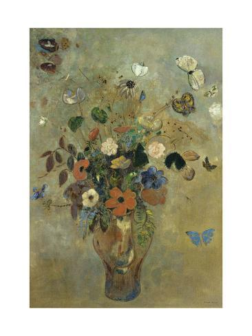 Bouquet of Flowers with Butterflies Giclee Print