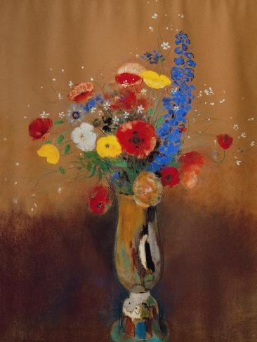 Bouquet of Wild Flowers in a Vase with Long Neck, 1912, Gouache Giclee Print