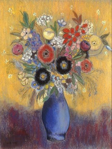 Fleurs dans un vase bleu (Flowers in a blue vase) Lámina giclée