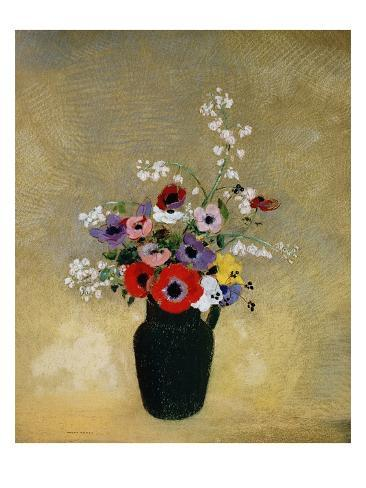 Large Green Vase with Mixed Flowers Giclee Print