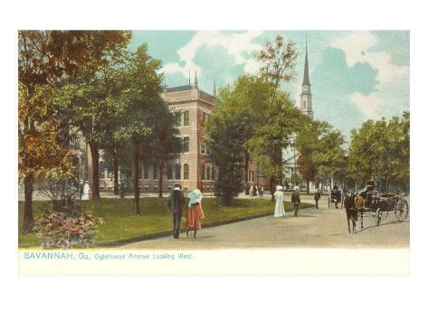 Oglethorpe Avenue, Savannah, Georgia Art Print