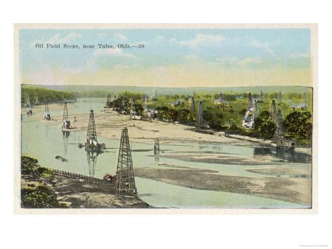 Oil Field Near Tulsa Oklahoma Giclee Print