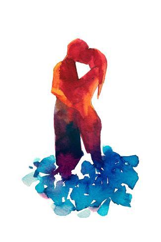 Loving Couple Silhouette Art Print