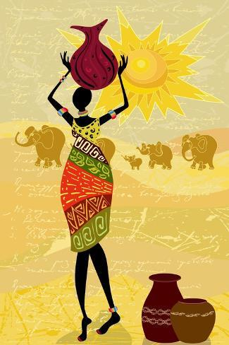 Landscape with an African Woman Decorative Art Print