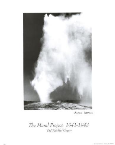 Old Faithful Geyser Ansel Adams Art Print Poster Mini Poster