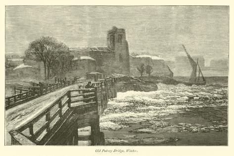 Old Putney Bridge, Winter Giclee Print
