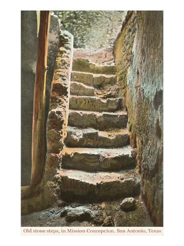Old Steps, Mission Concepcion, San Antonio, Texas Art Print