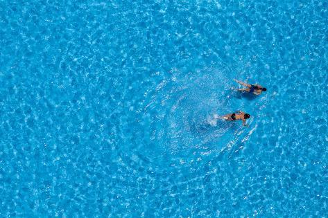 Couple Girls Swim in the Pool at the Hotel. View from Above. Photographic Print