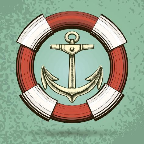 Anchor and Lifebuoy in Retro Style. Colorful Illustration Art Print
