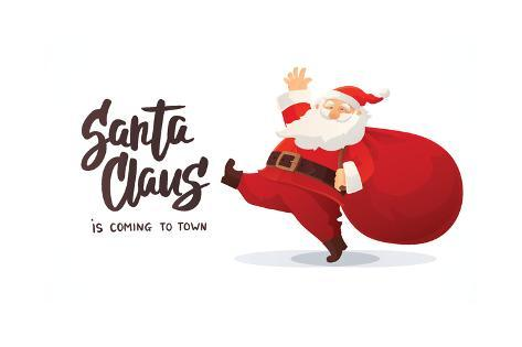 Christmas Card Funny Cartoon Santa Claus With Huge Red Bag With