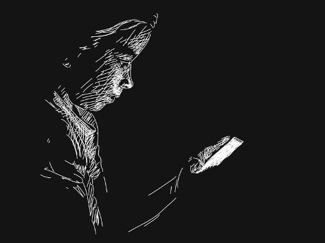 Young Girl Using Smart Phone in Darkness, Vector Sketch, Hand Drawn Illustration Art Print