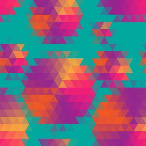 Vector Abstract Seamless Pattern with Mosaic Circles. Art Print