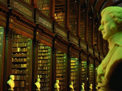 Bust in Longroom of Old Library in Trinity College, Dublin, Leinster, Ireland Photographic Print