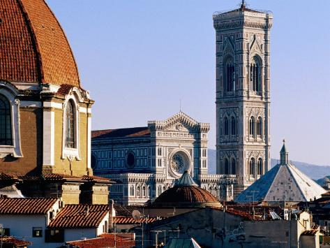 The Campanile Seen Over Rooftops, Florence, Italy Photographic Print