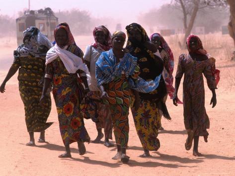 Women Walking Out of Town, Maradi, Niger Photographic Print
