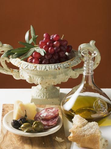 Olives, Sausage, Parmesan, Bread, Olive Oil and Red Grapes Photographic Print