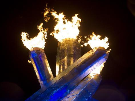 Olympic Flame Burns after Wayne Gretzky Lit the Olympic Cauldron at the 2010 Winter Games Stretched Canvas Print