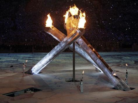 Olympic Flame During the Opening Ceremony for the Vancouver 2010 Olympics Photographic Print