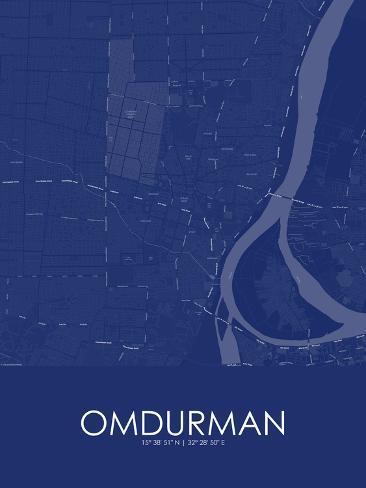 Omdurman Sudan Blue Map Posters AllPostersca