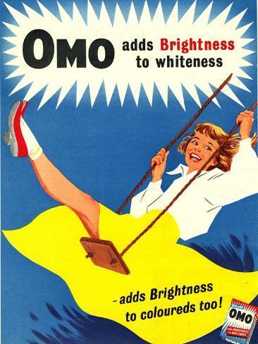 Omo, Washing Powder Products Detergent, UK, 1950 Giclee Print