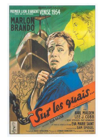 On the Waterfront, French Movie Poster, 1954 Art Print