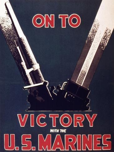 On to Victory with the Us Marines, 1944 Stampa giclée
