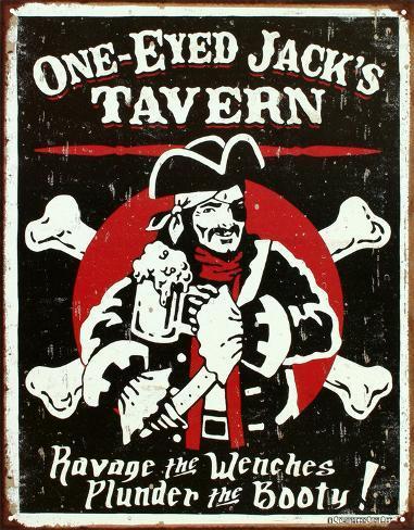 One Eyed Jack's Tavern Distressed Peltikyltti