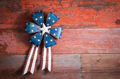 4Th July Patriotic Badge on Rustic Wood Photographic Print