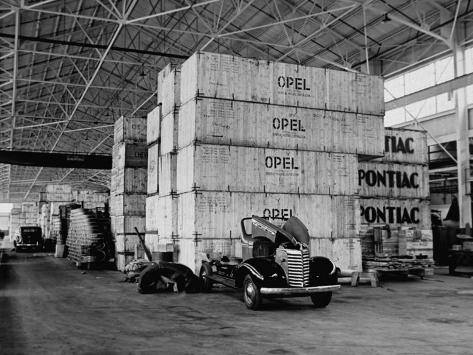 Opel and Pontiac Parts, Shipped from Germany, Stored in Crates in a General Motors Warehouse Photographic Print