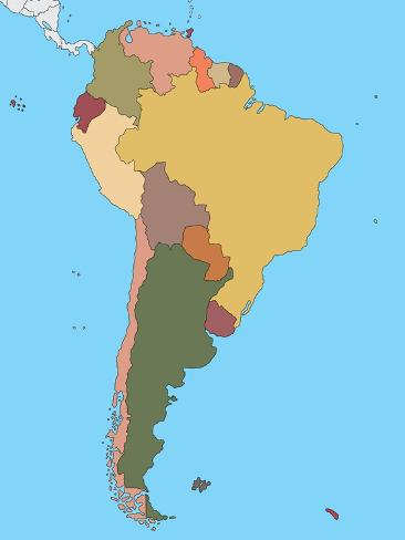 Colorful Map of South America Art Print